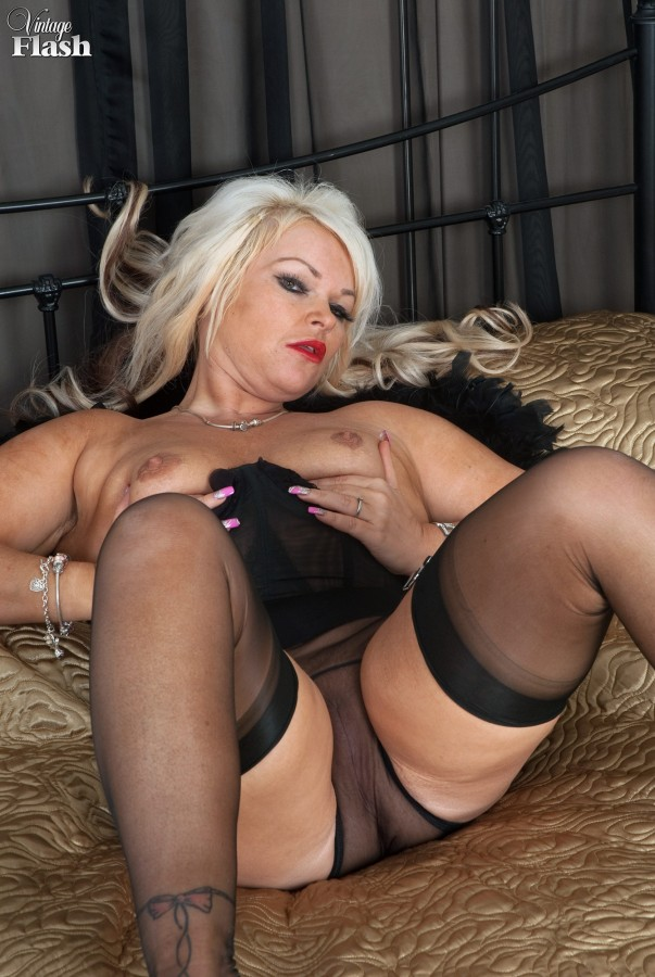Mature nylon stocking tease are